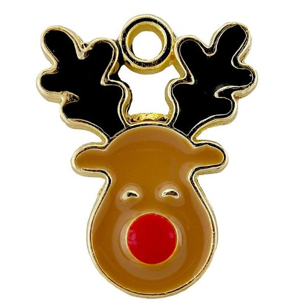 Rudolph Reindeer Head Gold Plated Enamel Charm 13x17mm